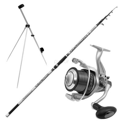 Fishing Ferrari Kit Pesca da Surfcasting Tele Mad Surfer 4.20 m 150 g + Mulinello Steel Cast 7000 + Tripod Beach 1 Rod