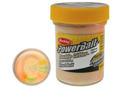 Berkley Pasta Trota PowerBait Double Glitter Twist Chartreuse-White-Orange
