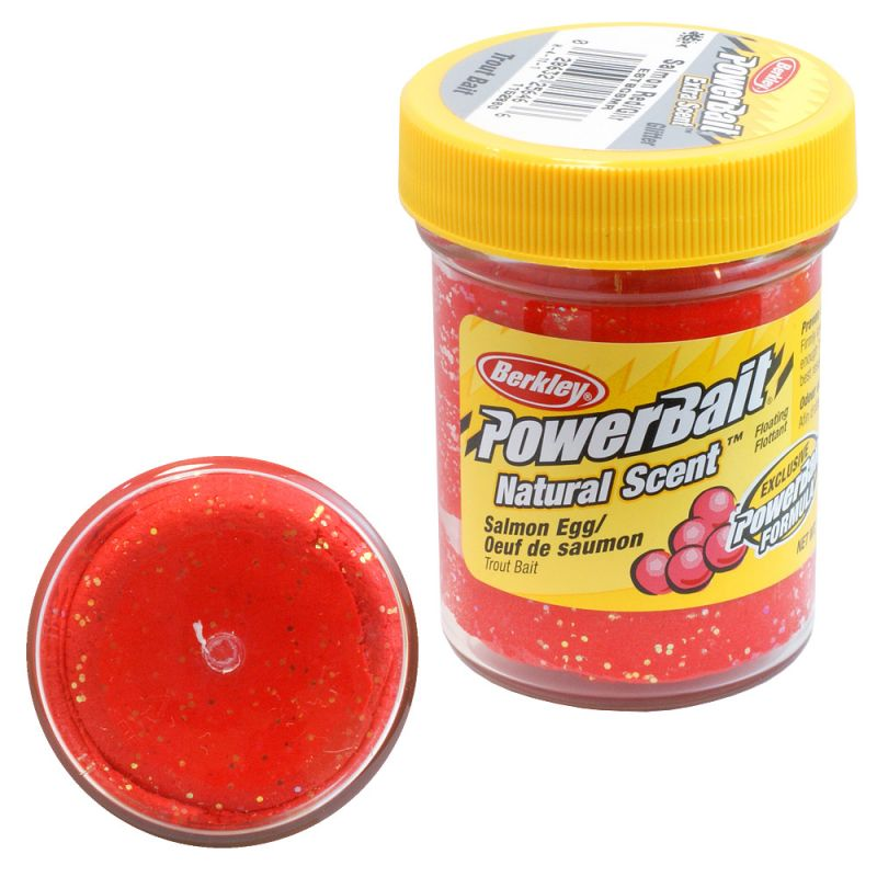 Berkley powerbait natural scent salmon egg red glitter for Trout fishing with powerbait
